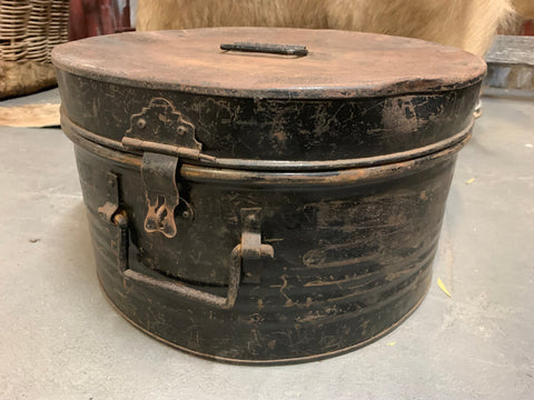 XL Vintage BLACK Hat Box