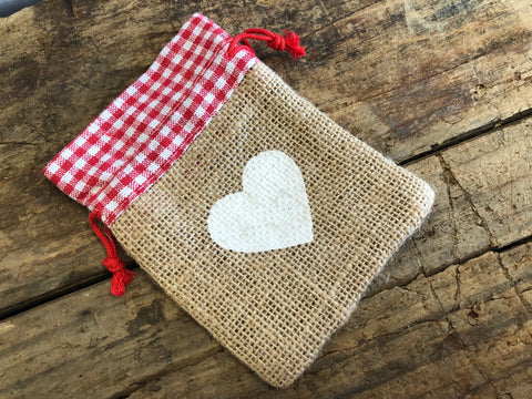 Gingham Red Hessian Drawstring Bags