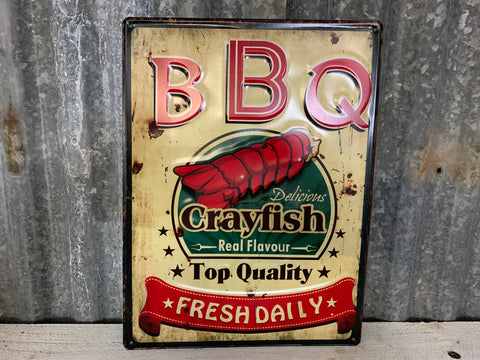Delicious Crayfish BBQ Tin Sign