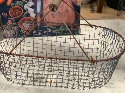 Vintage Wire Egg basket with Timber Wire handles