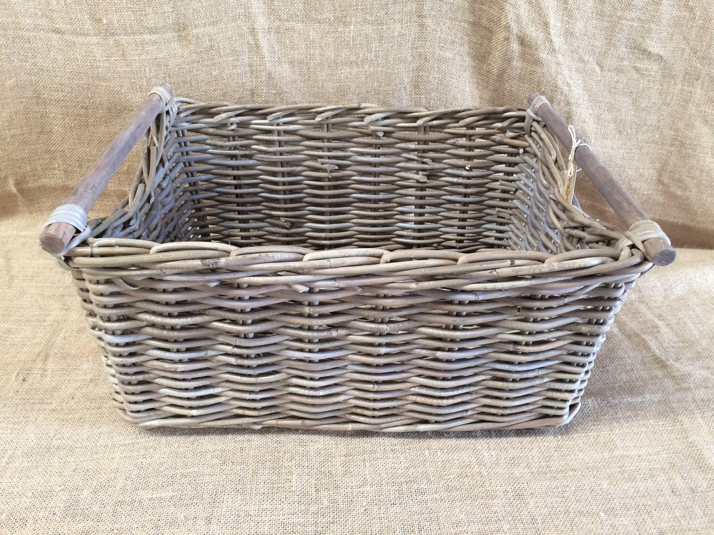 Rattan Toy Box Large Wooden Handles
