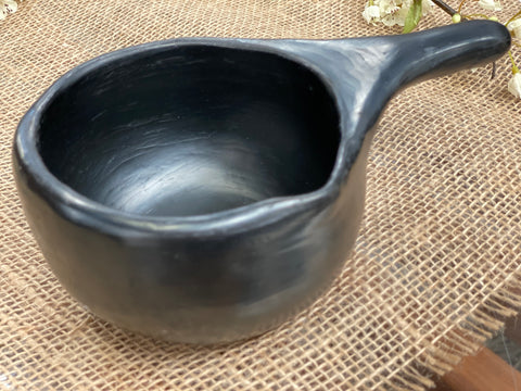 UNIQUE handmade black pottery SAUCE BOAT with handle