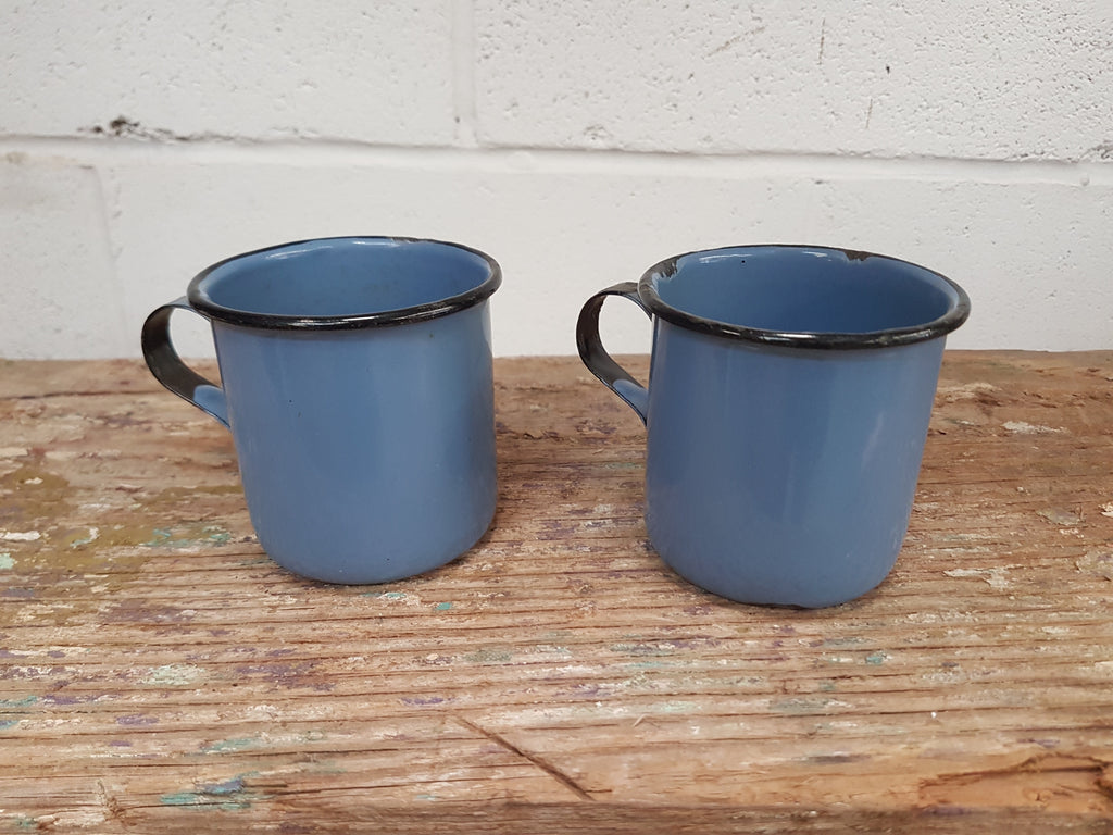 Pair of Vintage BLUE Enamel Mugs