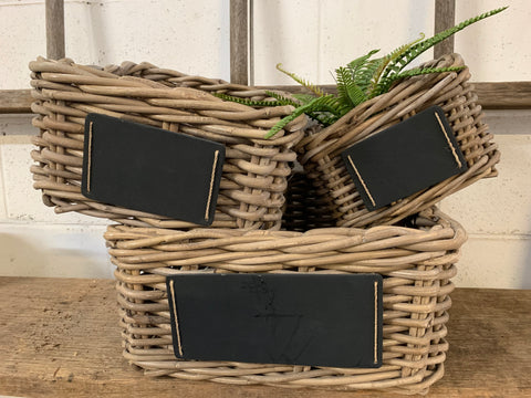 SQUARE Rattan Baskets with Chalkboard