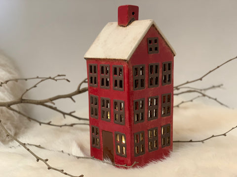 Large RED Xmas Tea Light House