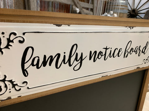 FAMILY Notice Board with HOOKS