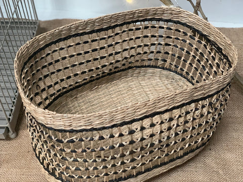 Black Weave Oval Basket