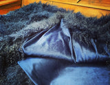 Navy Mongolian SHEEPSKIN Blanket