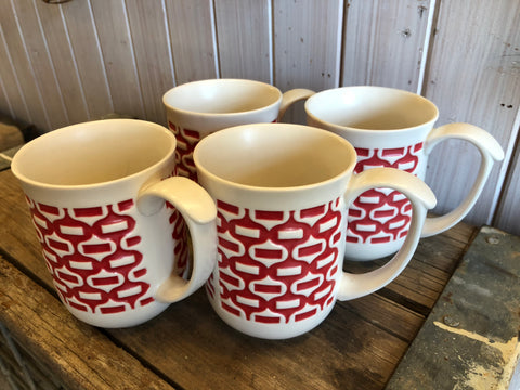 Red Ceramic Mug Set of 4