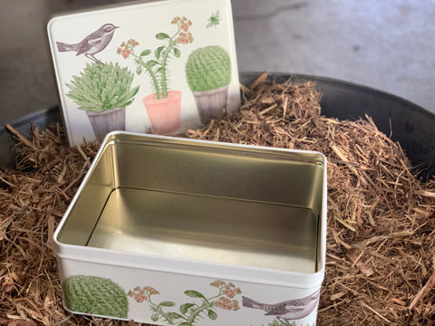 CACTUS & BIRD Biscuit Tin