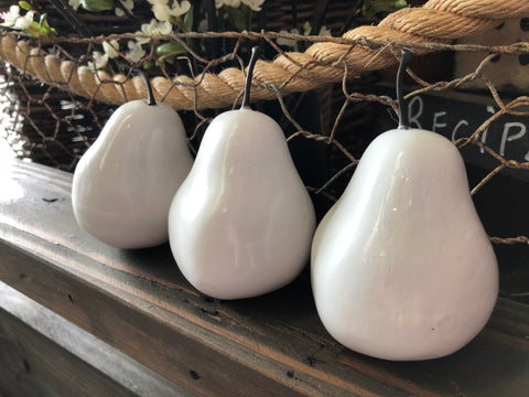 Faux White Pears Set of 6