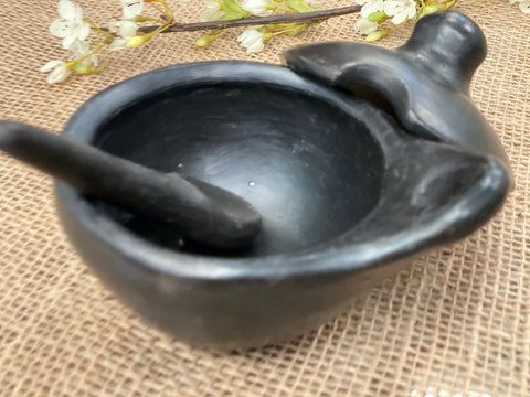 UNIQUE handmade black pottery SAUCE Dish with lid and spoon