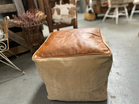 LEATHER and Canvas POUFFE cover