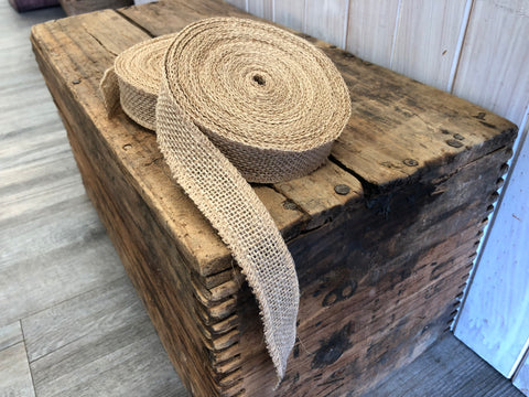 Natural Jute Ribbon with Sewn Edges