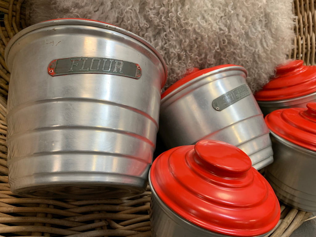 RED Lid Canister Set