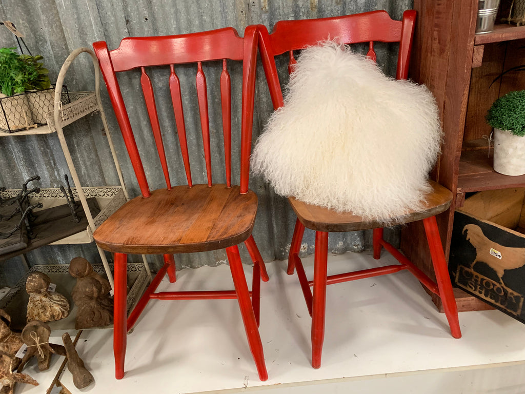 Pair of Bright RED Painted Wooden Chairs