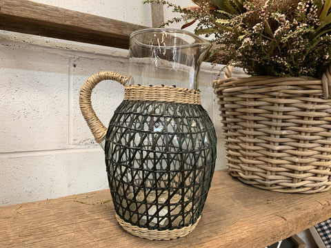 Weave Pattern Glass Pitcher