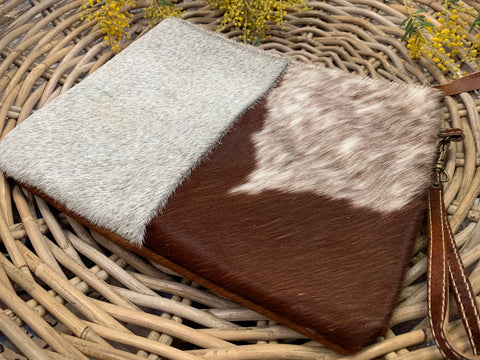 New HEATHER Cowhide Clutch