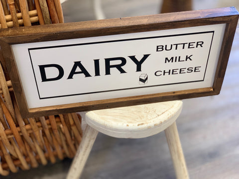 Black or White Dairy Wood Sign