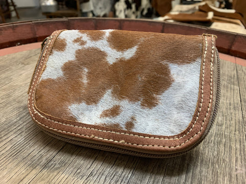 NEW Brown Tan & Grey Cowhide Purse