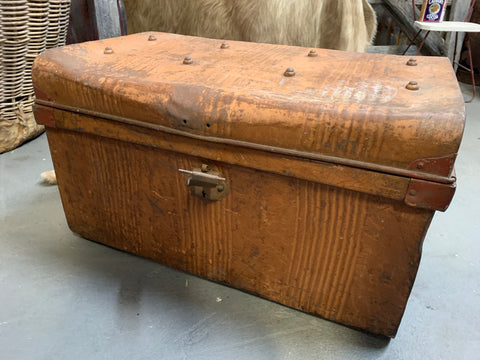 Large Vintage Rusty Orange Trunk