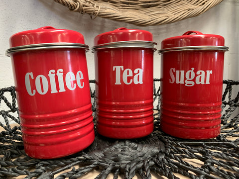 Red COFFEE, Tea and Sugar Canisters