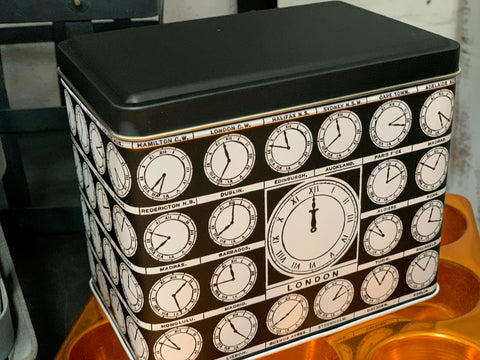 Rectangle CLOCK storage tin