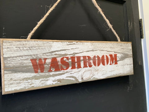Handmade Washroom Wooden Sign