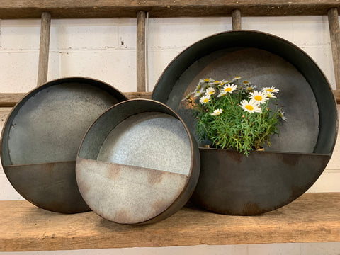 Zinc Round Wall Planters Set of 3 Arriving Sep