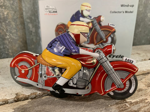 Vintage RED Racing Wind-Up Motorcycle