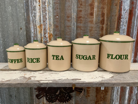 Green and Cream CANISTER Set