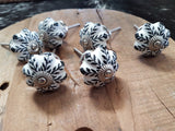 Black and White Door Knobs Set of 6