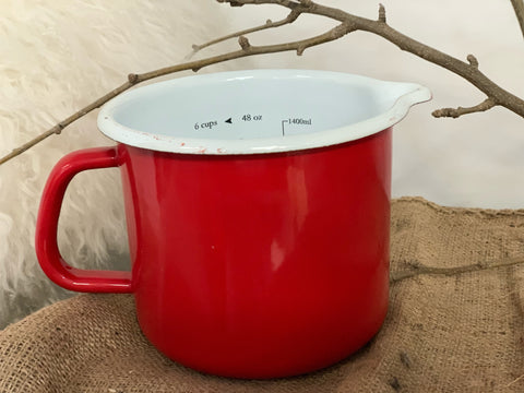 XL Red Enamel Vintage Measuring 1.4L Jug