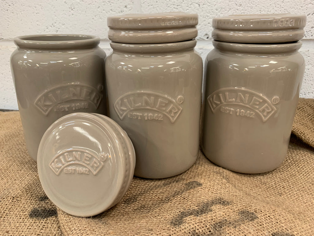 Kilner Ceramic STONEWASH Jar SET of 3