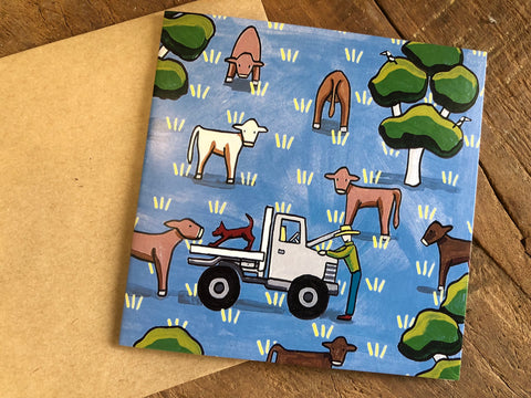 Paddock of Cows Card