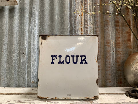Olde Large and HEAVY Enamel Flour Tin
