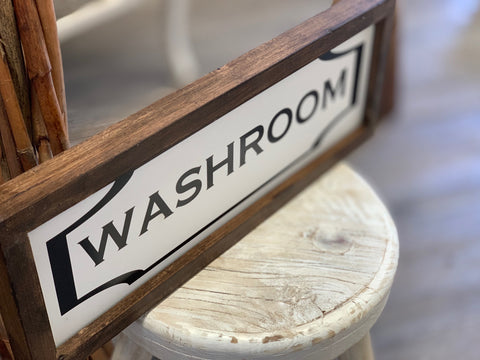Handmade Washroom Wood Sign