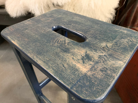 Handmade BLUE Stool