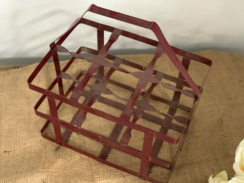 Vintage Red Wire Bottle Basket