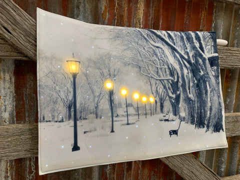 Light UP SNOWY Christmas Fabric ART