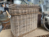 FAMILY sized rattan LAUNDRY basked with lid and ROPE  handles