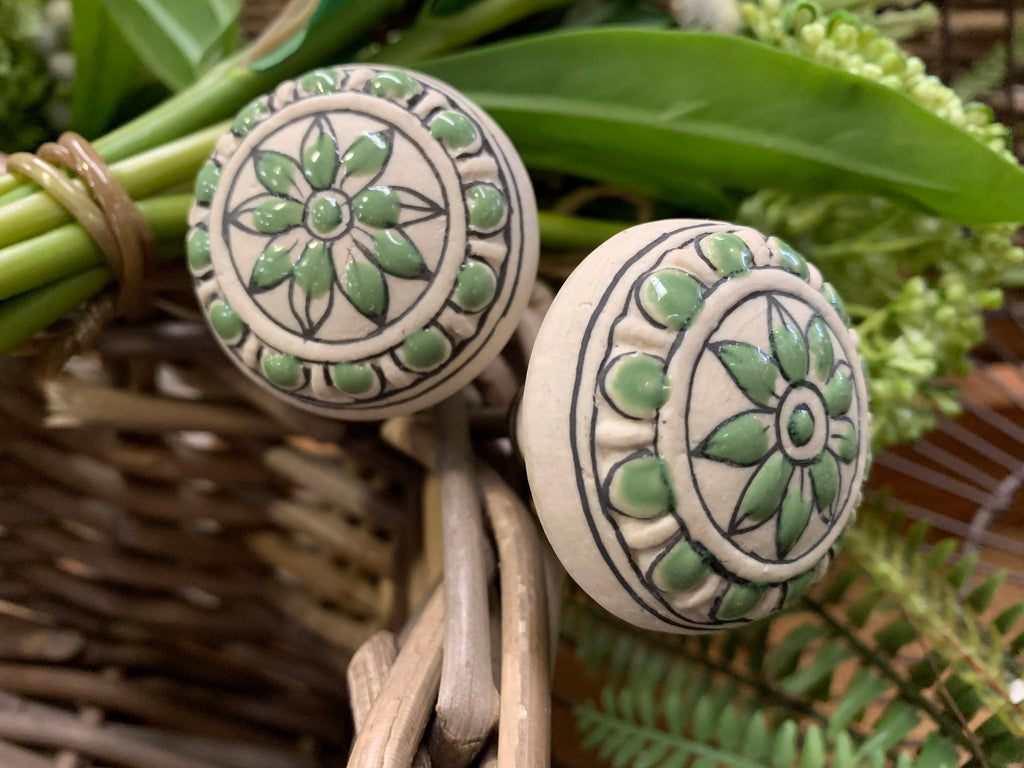 Hand painted GREEN Knobs