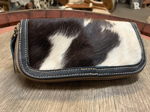NEW Double ZIP Cowhide Purse