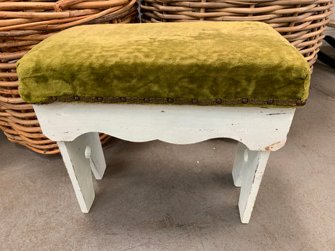 Velvet Green STUD Foot Stool