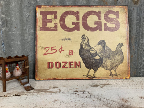 Hanging Eggs Metal Sign
