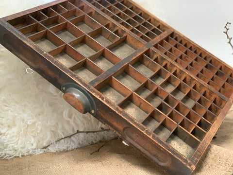 Vintage Wooden Typesetter Drawer