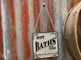 Cast Iron Hot BATHS 25c Sign