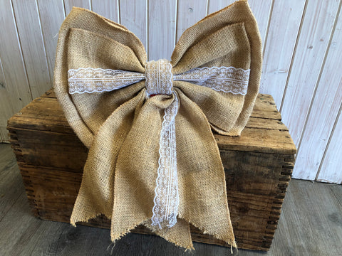 HUGE Hessian Lace Bow Was $19 NOW $10.00
