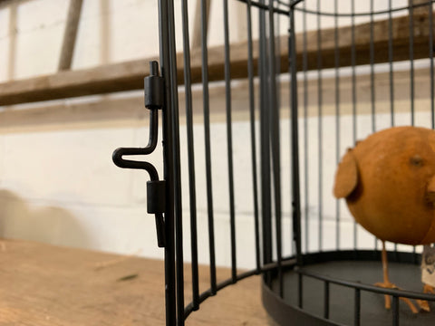 Black Wire BIRDCAGE with Timber Top
