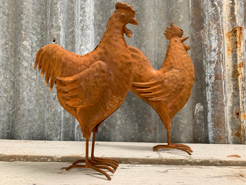 Small Rusty Rooster & Hen Set